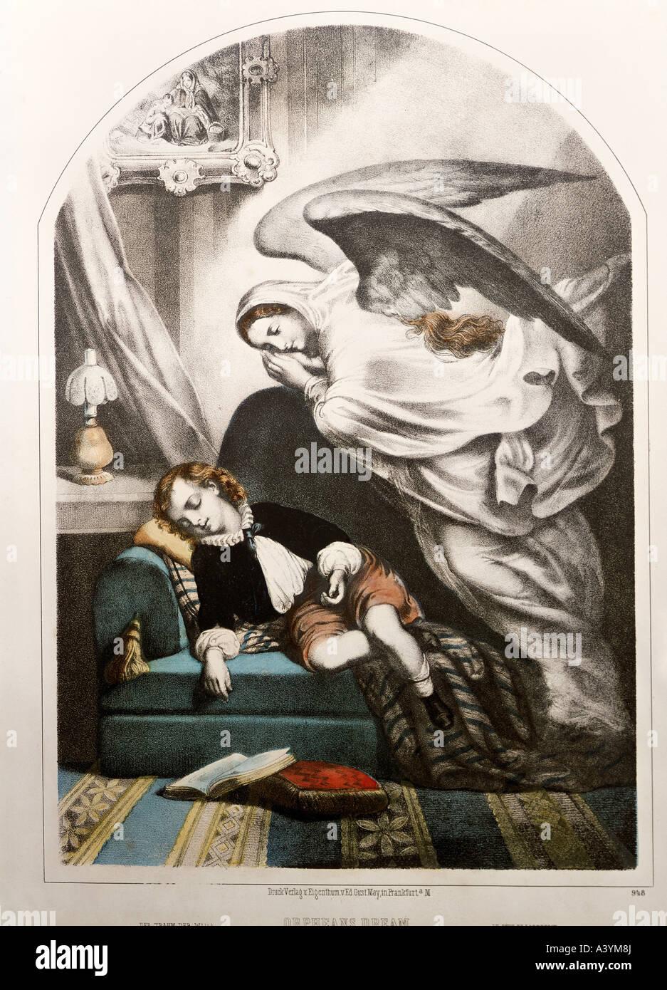 'fine arts, religious art, angels, 'Orphans Dream', graphics, circa 1860, colour lithograph, printed - Stock Image