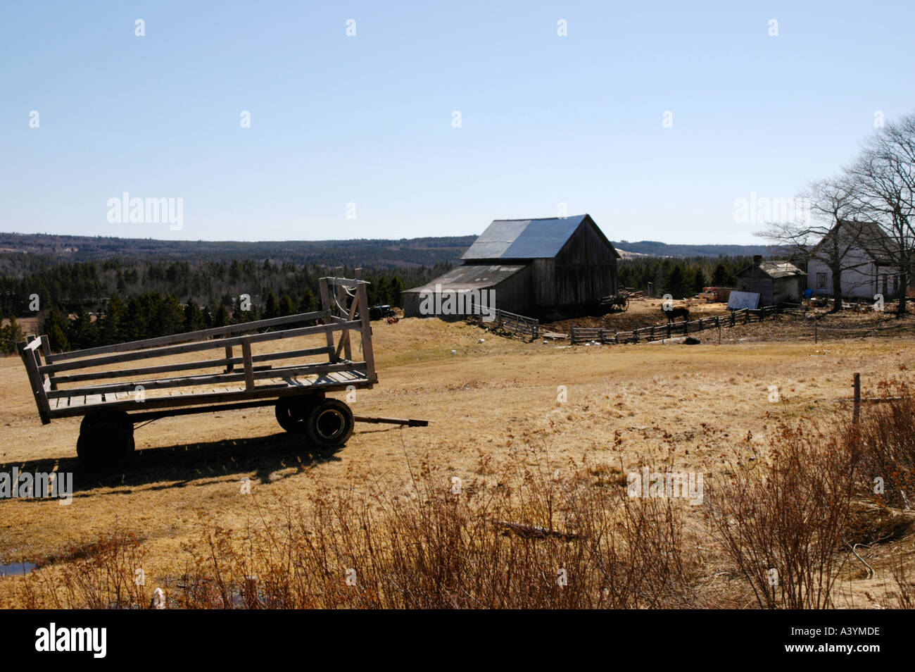 Old farmstead on the shore of the Bay of Fundy New Brunswick Canada - Stock Image