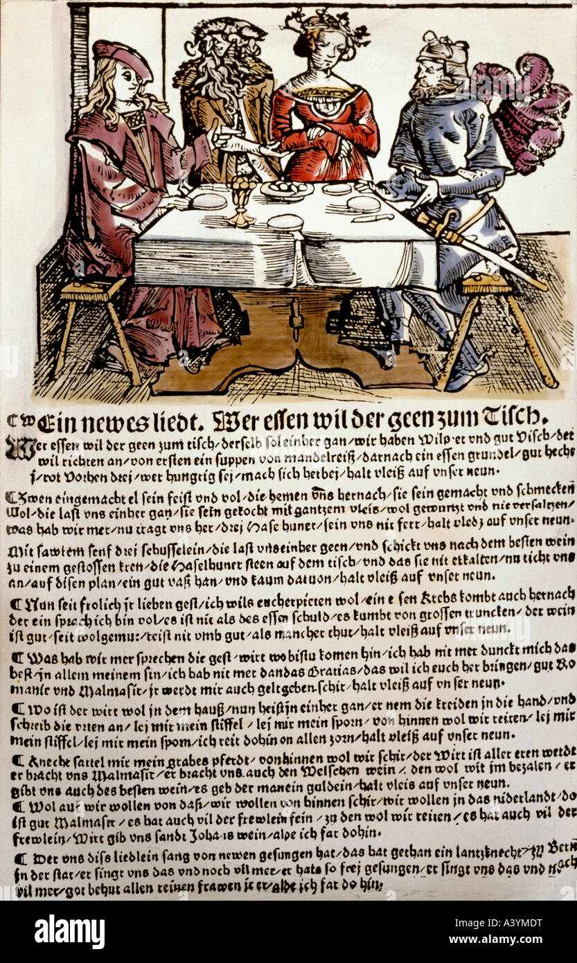 people, food and beverages, poem on table manners, colour woodcut, broadsheet, Nuremberg, first half 16th century, - Stock Image