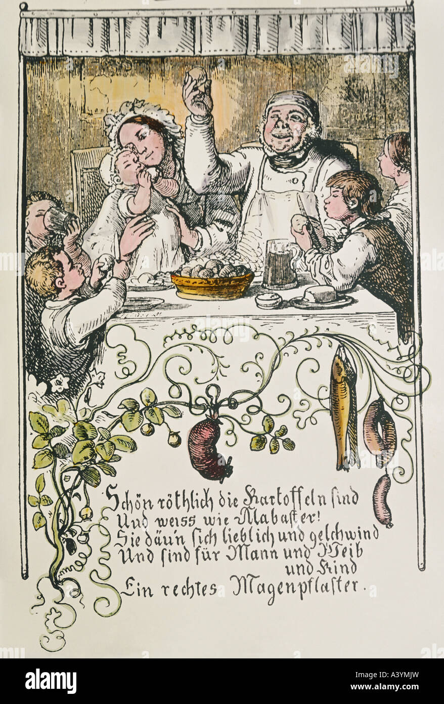 food and beverages, potatoes, poem on potato, colour engraving, after drawing by Ludwig Richter (1803 - 1884), from - Stock Image