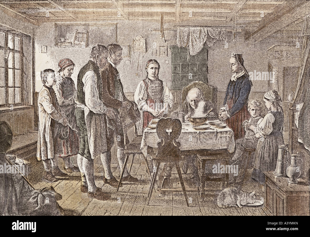 religion, christianity, prayer, 'Das Tischgebet', ('saying grace'), colour engraving, from 'Die - Stock Image