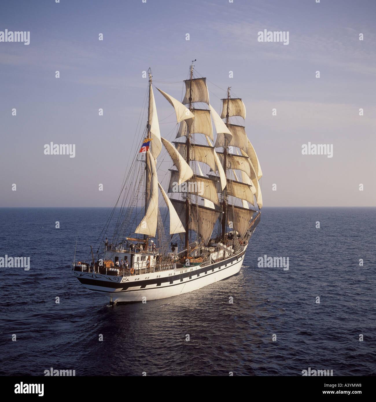 Aerial view of 'Simon Bolivar' Venezuela sailing south of Palma de Mallorca Baleares Spain Cutty Sark Tall Ships race. - Stock Image