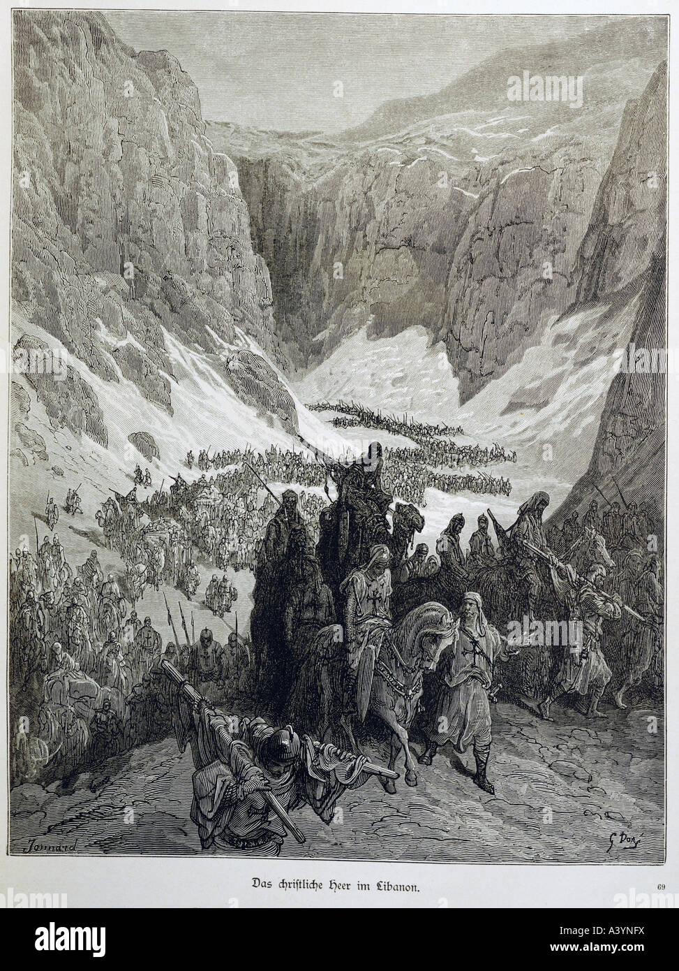"""middle ages, crusades, 3rd crusade, 1192 - 1198, crusade army at Lebanon  mountains, engraving, by Gustave Dore (1832 - 1883), illustration for """"the  ..."""