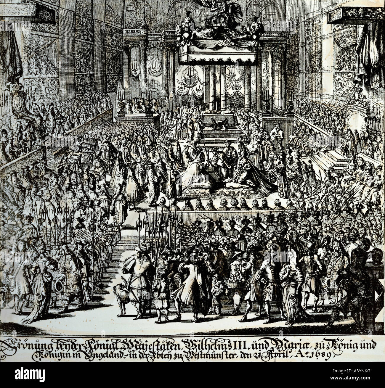 William III of Orange, 14.11.1650 - 19.3.1702, king of England from 13.2.1689 - 19.3.1702, coronation at Westminster - Stock Image