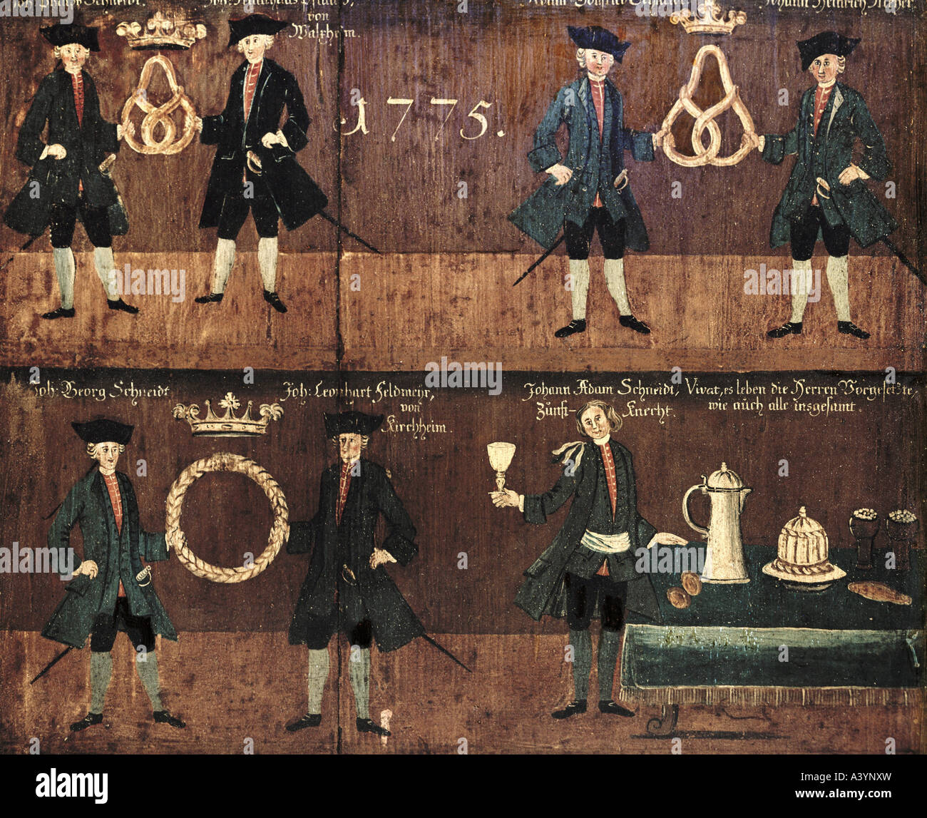 craft / handcraft, guilds, guild sign, baker guild, casein colours on panel, Bavarian Swabia, 1775, Additional-Rights - Stock Image