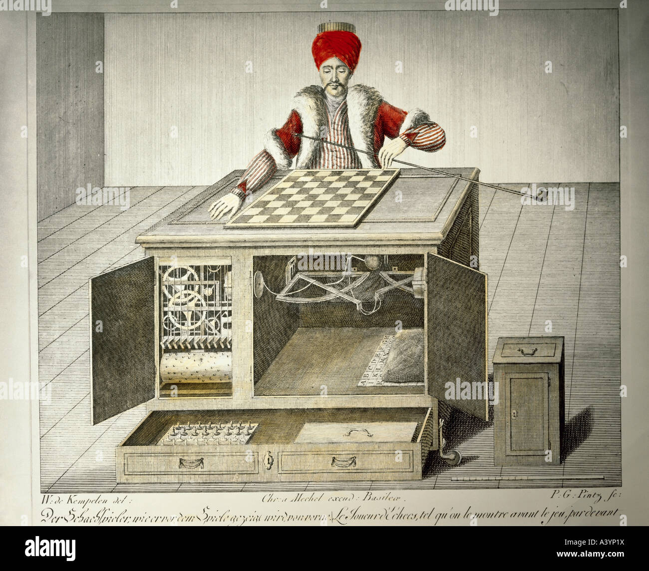 game and gambling, gaming machines, chess playing Turk, design by Wolfgang von Kempelen (1734 - 1804), built by Stock Photo