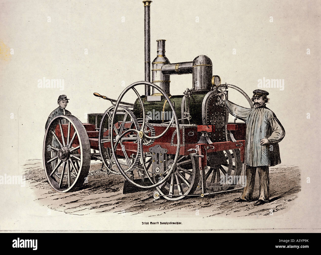 agriculture, machines, 'Lokomobile', steam digging machine, design by Josef Bauer, colour engraving, Brockhaus - Stock Image