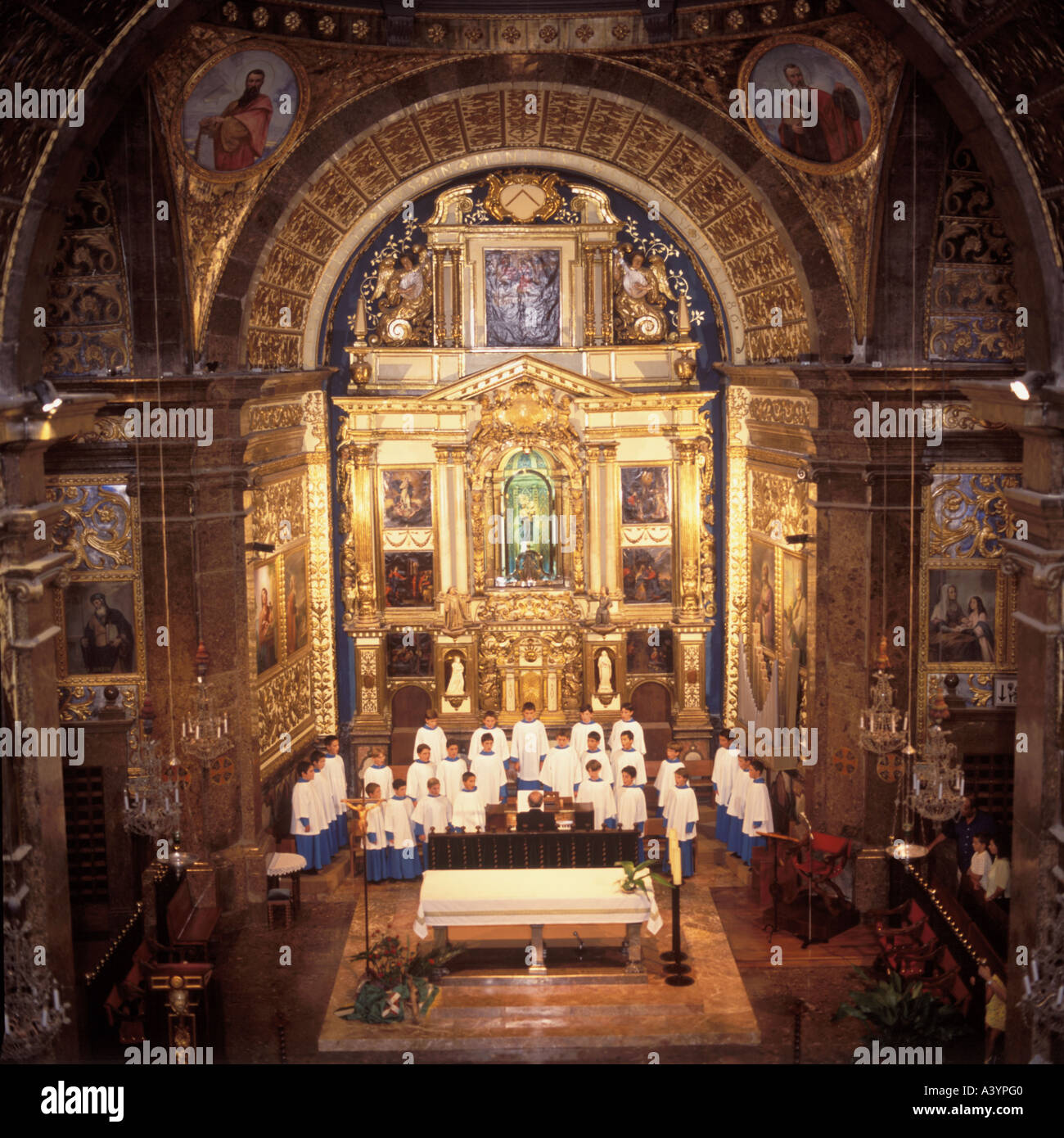 Morning recital in the Basilica within the Monastery of Lluc, North  Mallorca Baleares Spain - Stock Image