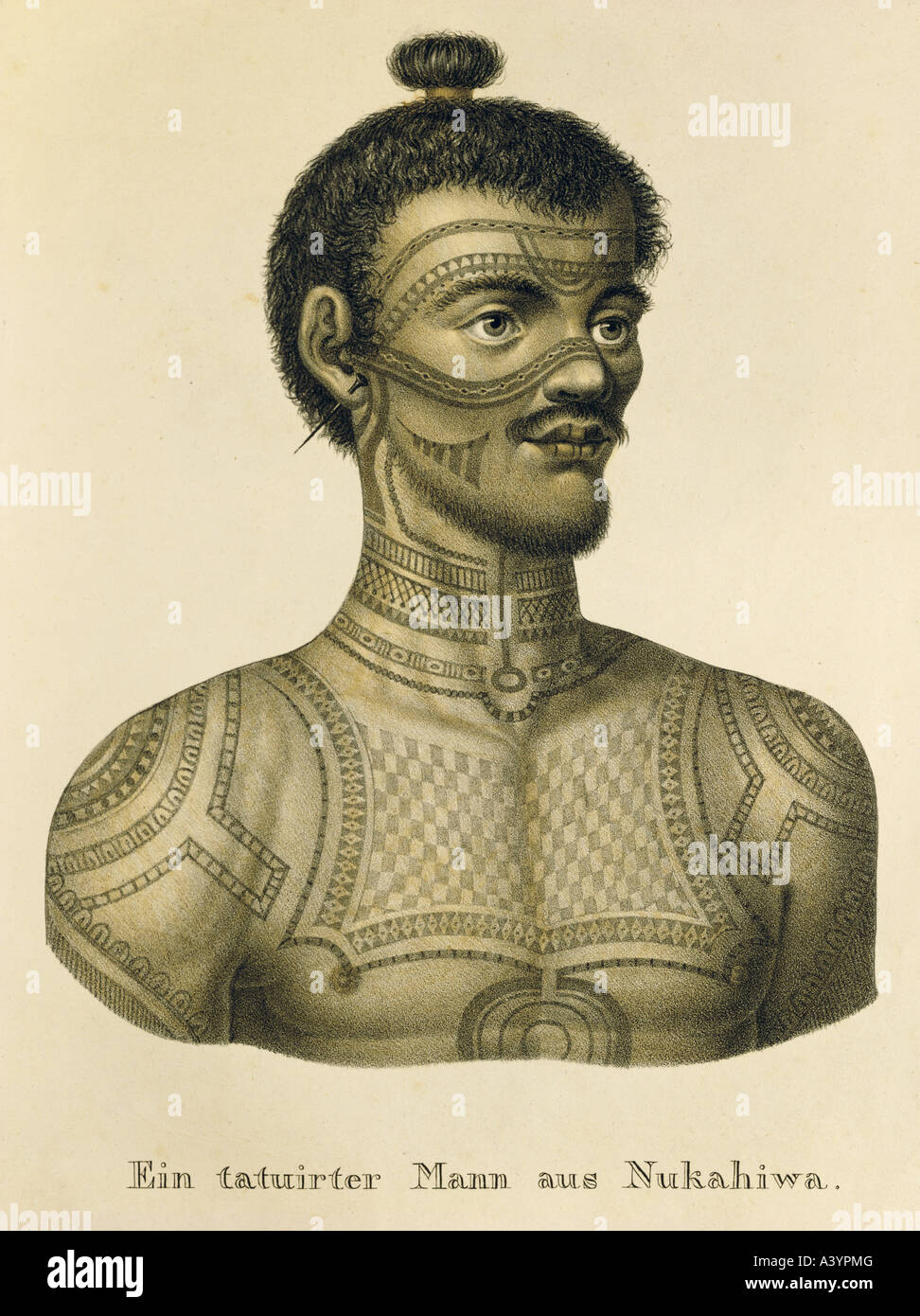 geography / travel, Polynesia, Marquesas Islands, Nuku Hiva, people, man with tattoos, colour lithograph, by K.J.Brodtmann, - Stock Image