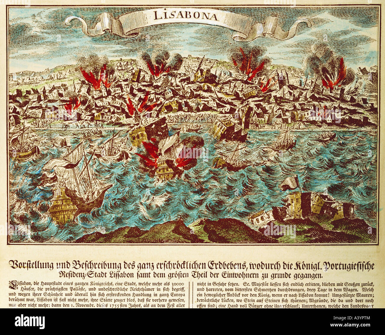 natural disaster / catastrophe, earthquake, Lisbon, 1.11.1755, Artist's Copyright has not to be cleared - Stock Image
