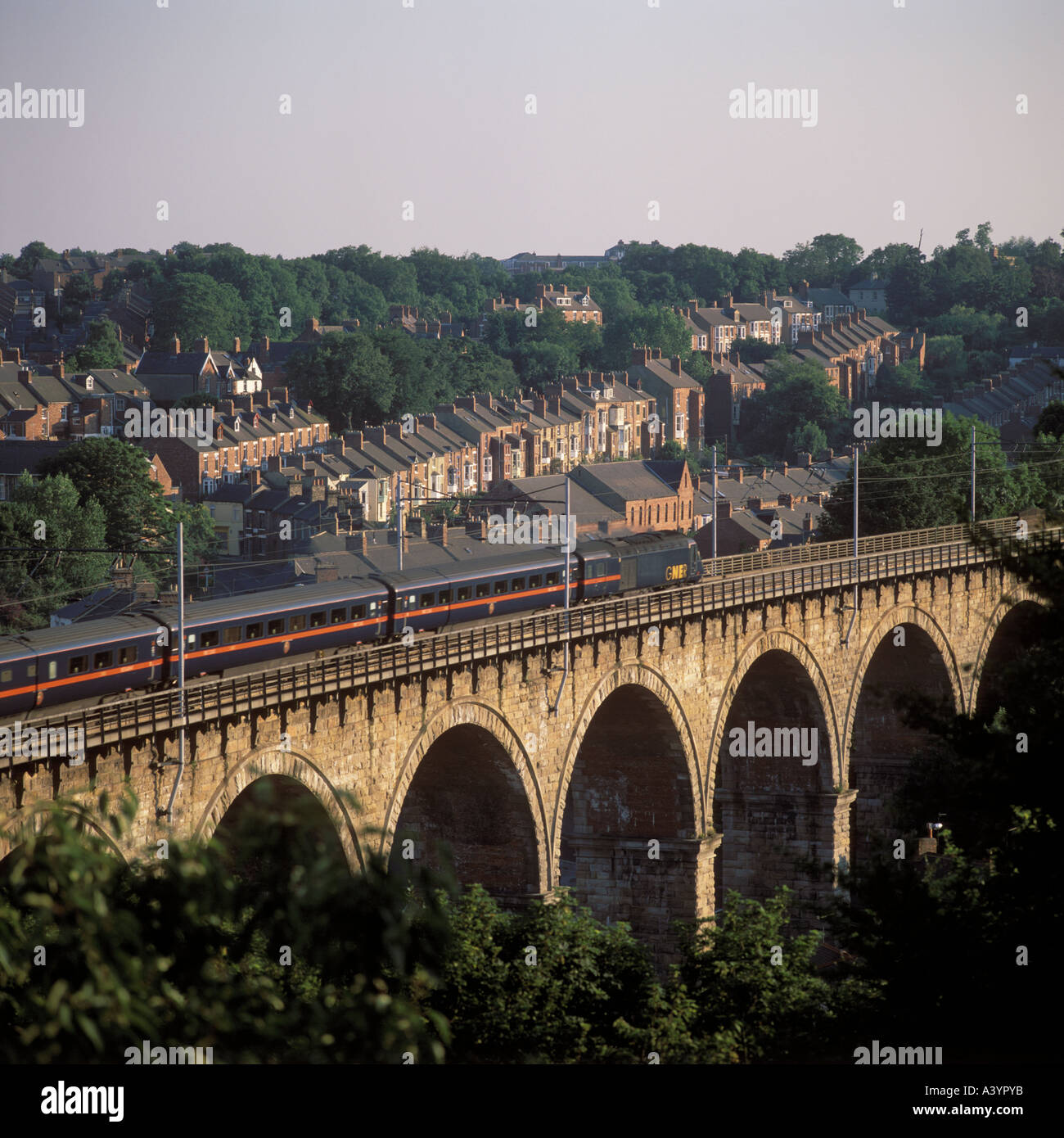 Gner Train On Railway Viaduct And City View Durham City Uk Stock
