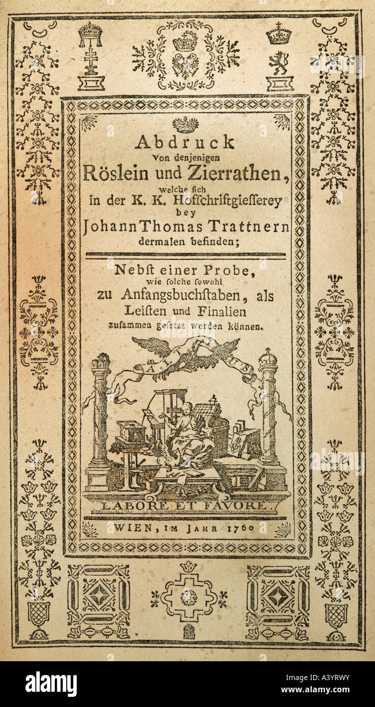 technics, printing, proof book, title, by Johann Thomas Trattner Printing House, Vienna, 1760, Additional-Rights - Stock Image