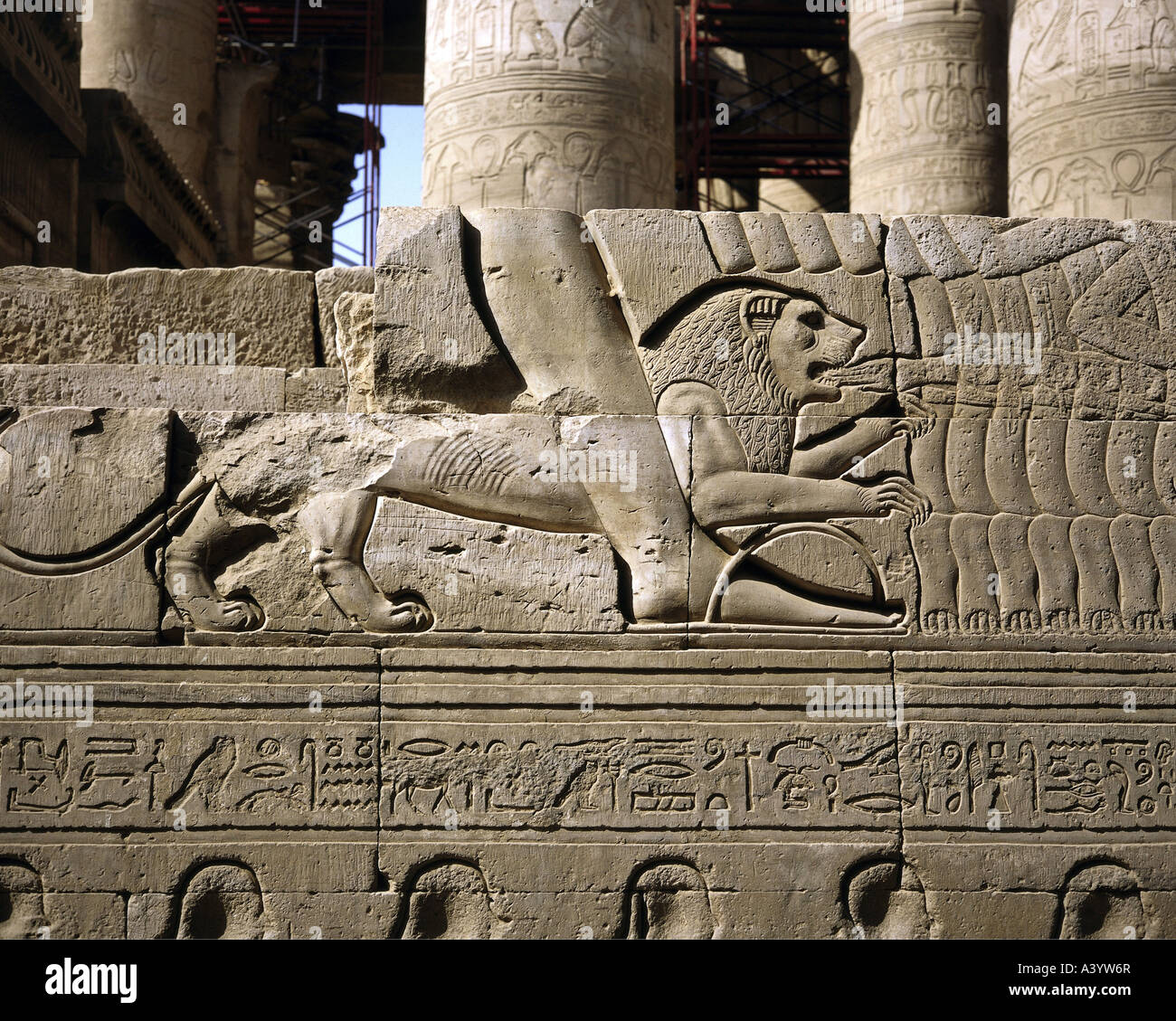 travel /geography, Egypt, Kom Ombo, buildings, temple of Kom Ombo for gods Sobek and Haroeris, exterior view, relief, - Stock Image