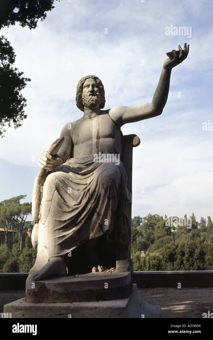 Asclepius, (Aesculapius), Greek god of medicine, statue, marble, circa 1st century - 2nd century A.D., Monte Pincio, - Stock Image