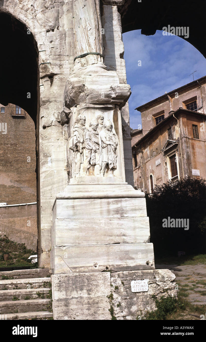travel /geography, Italy, Rome, monuments, triumphal arch of Septimius Severus, relief, captured Germanic Peoples, - Stock Image