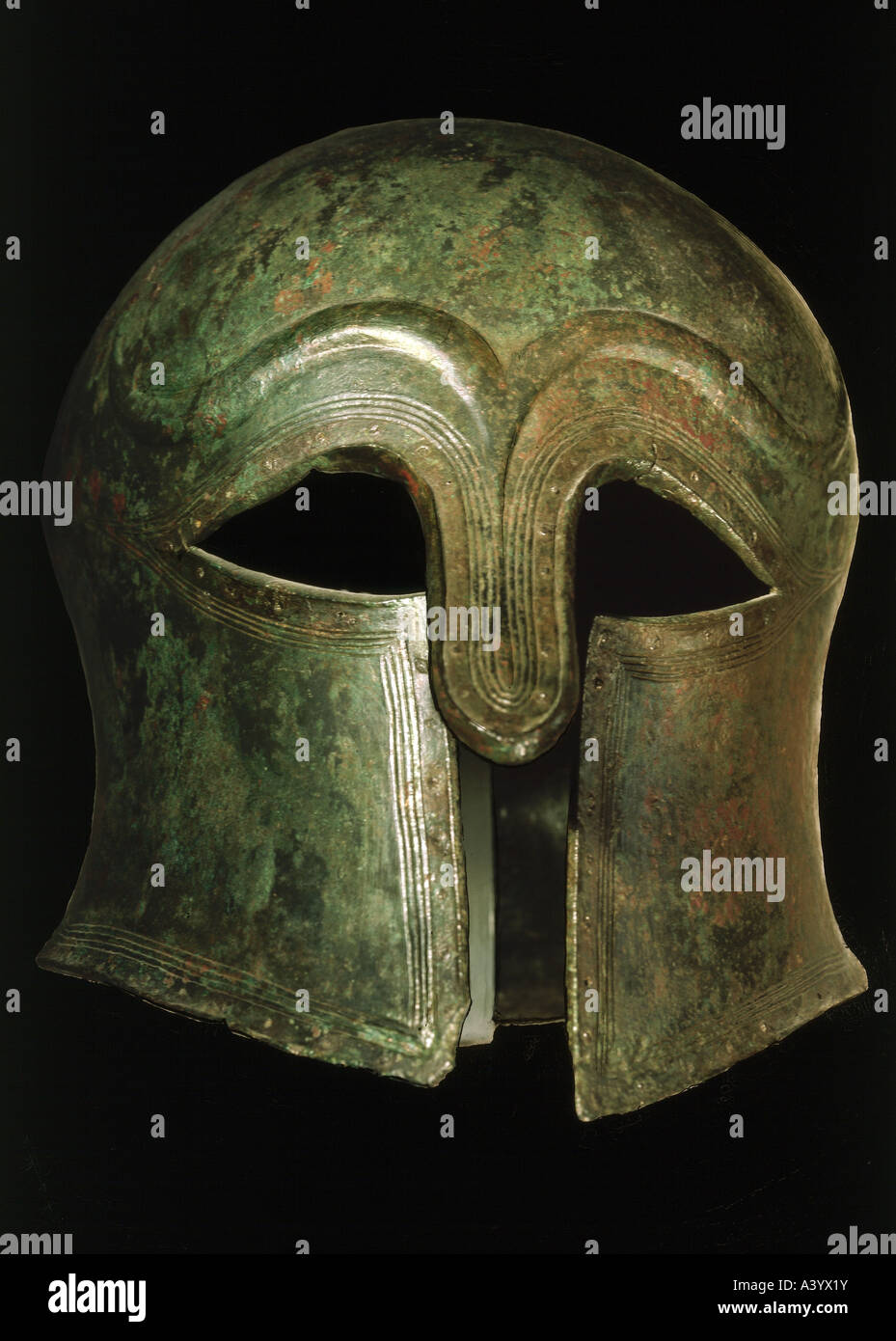 weapons/arms, defensive arms, helmets, Corinthian helmet from lower Italy, late 6th century BC, bronze, Landesmuseum - Stock Image