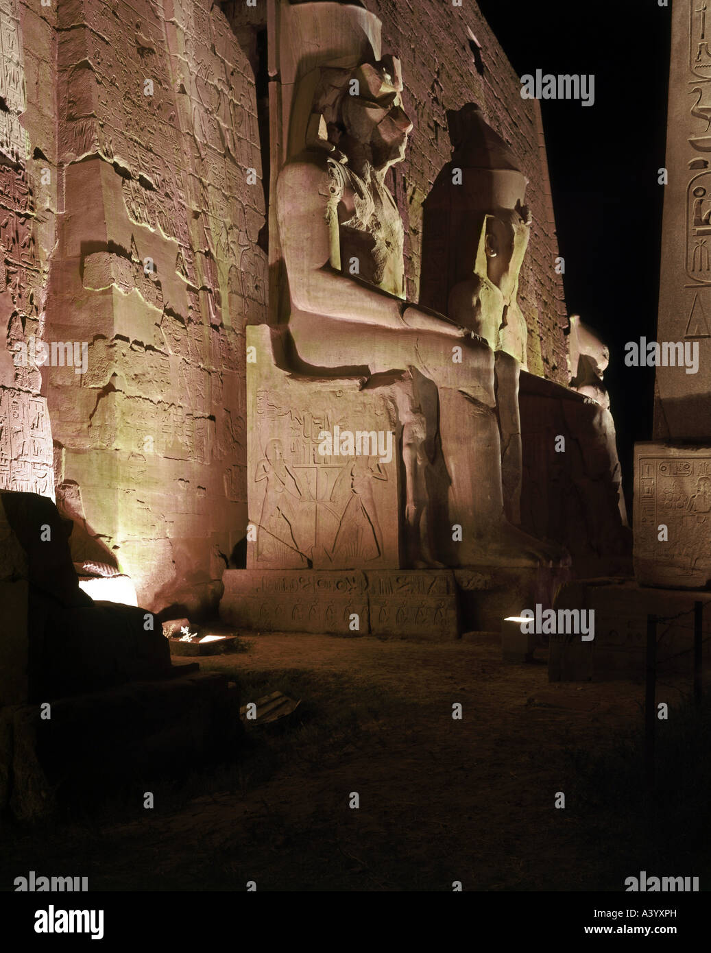 travel /geography, Egypt, Luxor, buildings, temple, Theban divine family Amun, Mut, Chons, exterior view, night, - Stock Image