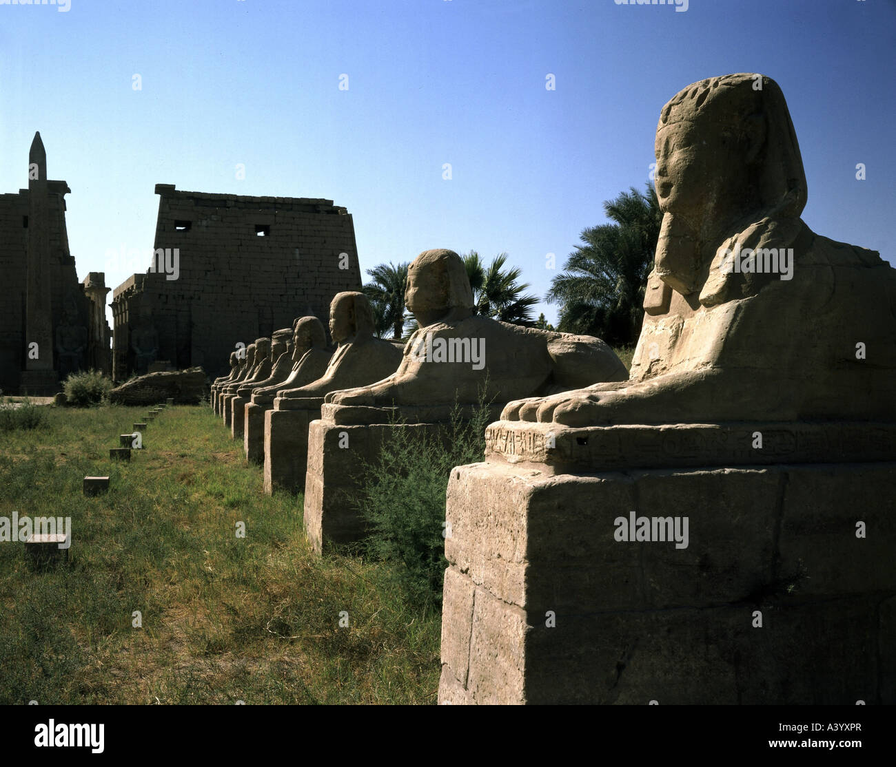 travel /geography, Egypt, Luxor, buildings, temple, Theban divine family Amun, Mut, Chons, exterior view, sphinx - Stock Image