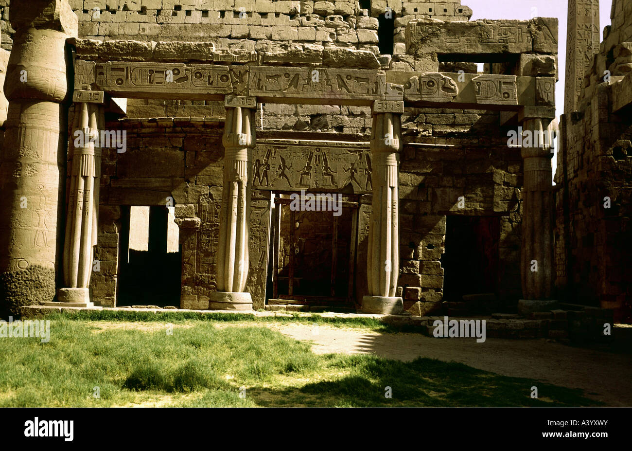 travel /geography, Egypt, Luxor, buildings, temple, Theban divine family Amun, Mut, Chons, exterior view, granite - Stock Image