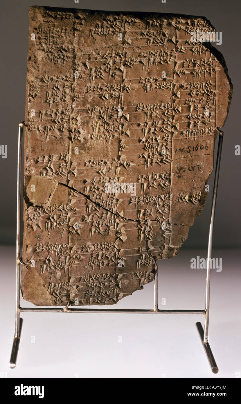 writing, script, cuneiform writing, Babylonian, clay tablet, document from Shaduppum (Hermel), 2nd half 2nd millennium - Stock Image