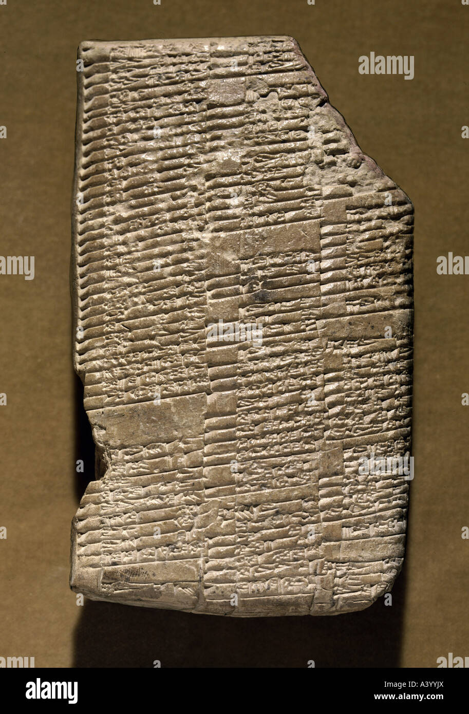 writing, script, cuneiform writing, Babylonian, clay tablet, document from the palace of Mari (Tell Hariri), administration - Stock Image