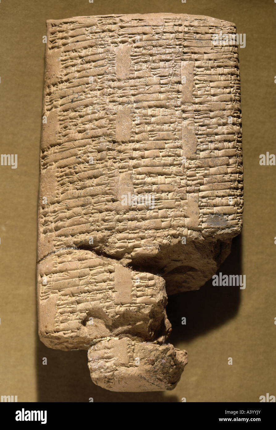 writing, script, cuneiform writing, Babylonian, clay tablet, document from the palace of Mari (Tell Hariri), list - Stock Image