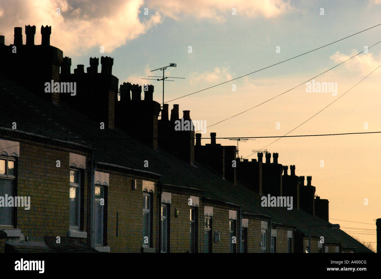 A Row Of Terraced Houses In Stoke-On-Trent, Staffordshire ,UK. - Stock Image