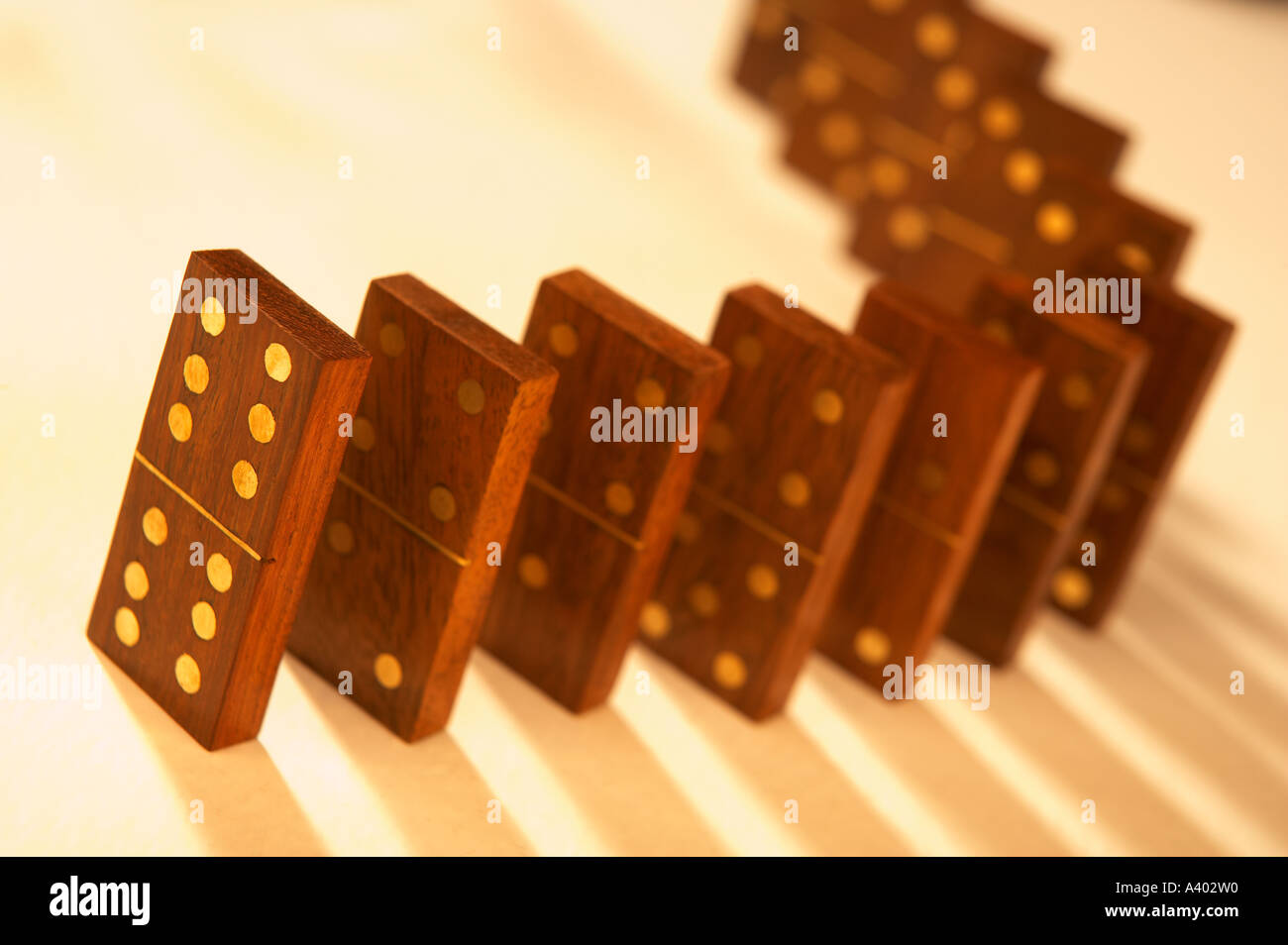 Row Of Several Antique Wood And Brass Dominoes Stock Photo 6222351