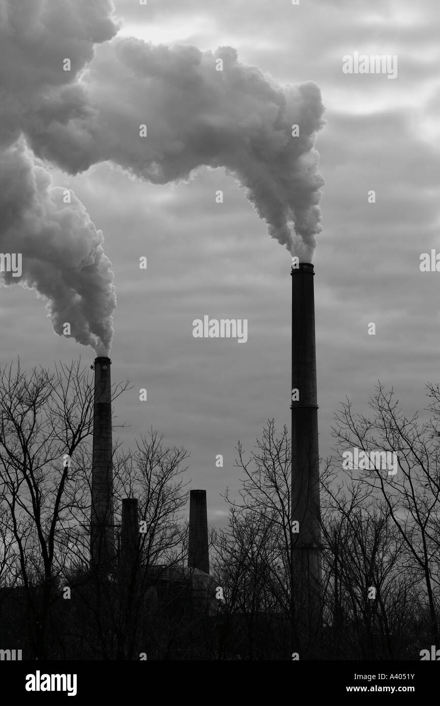 Two smokestacks from a power plant - Stock Image