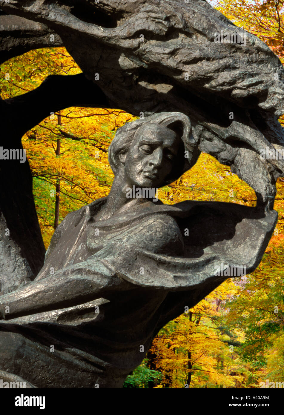 Poland Warsaw Monument to Frederic Chopin - Stock Image