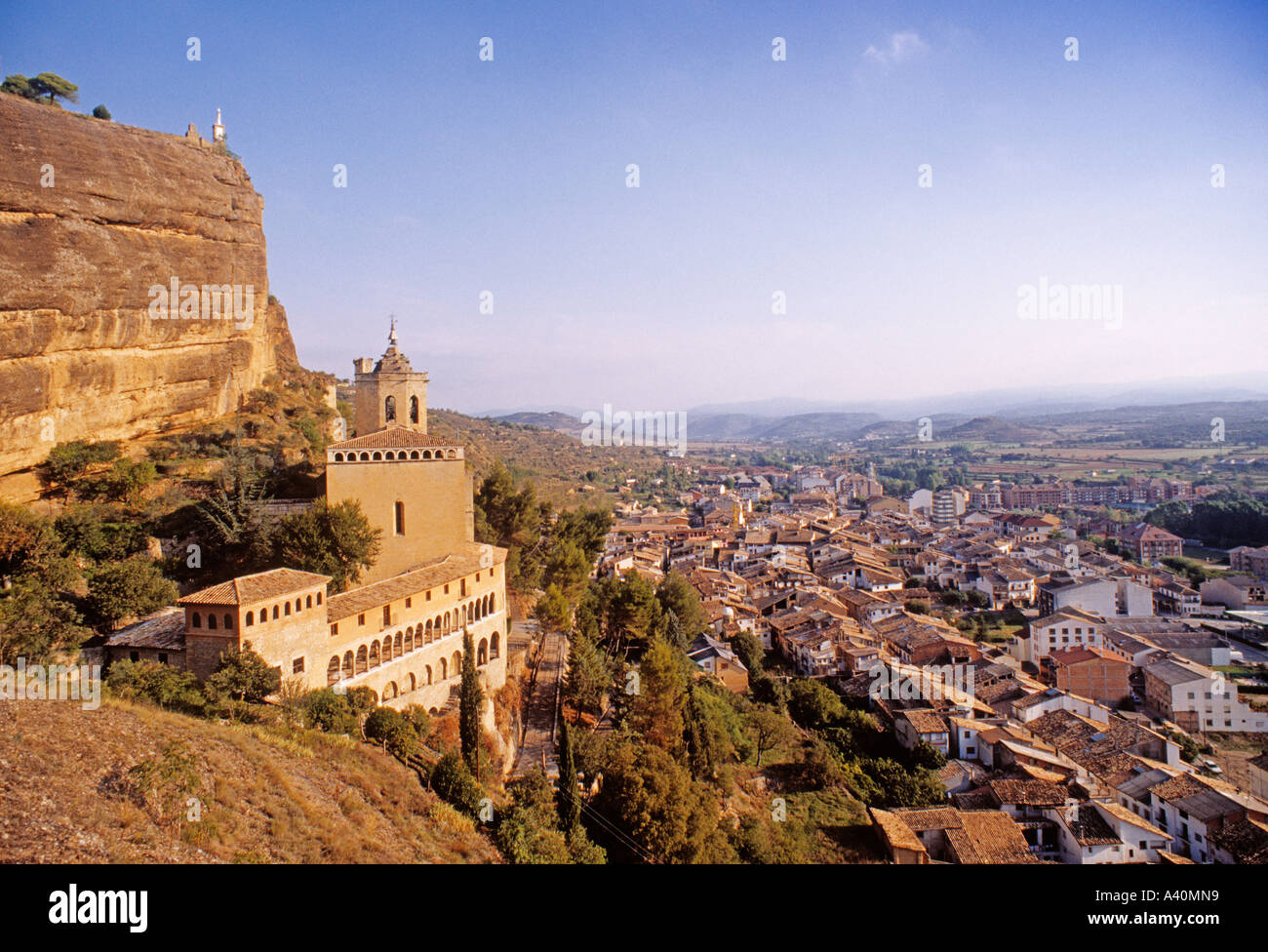 view of the church of san miguel  and the village of graus huesca aragon spain - Stock Image