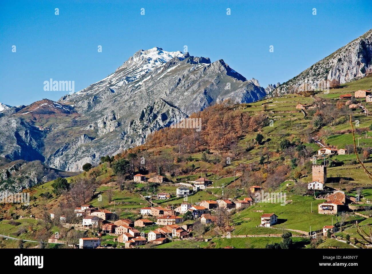 view of linares in the valley of peñarrubia cantabria spain - Stock Image