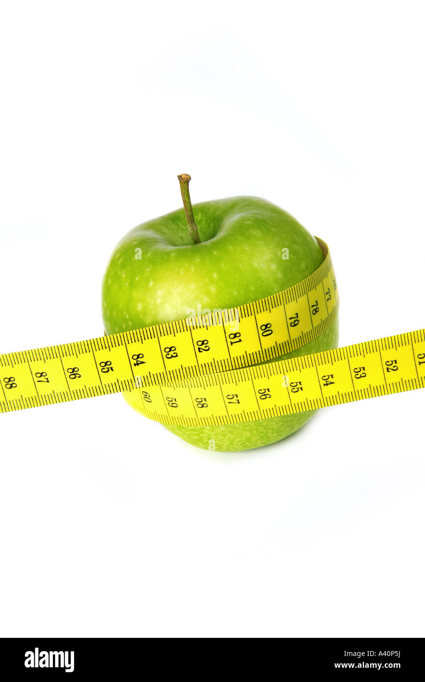 diet apple measure Diät Apfel Maßband - Stock Image