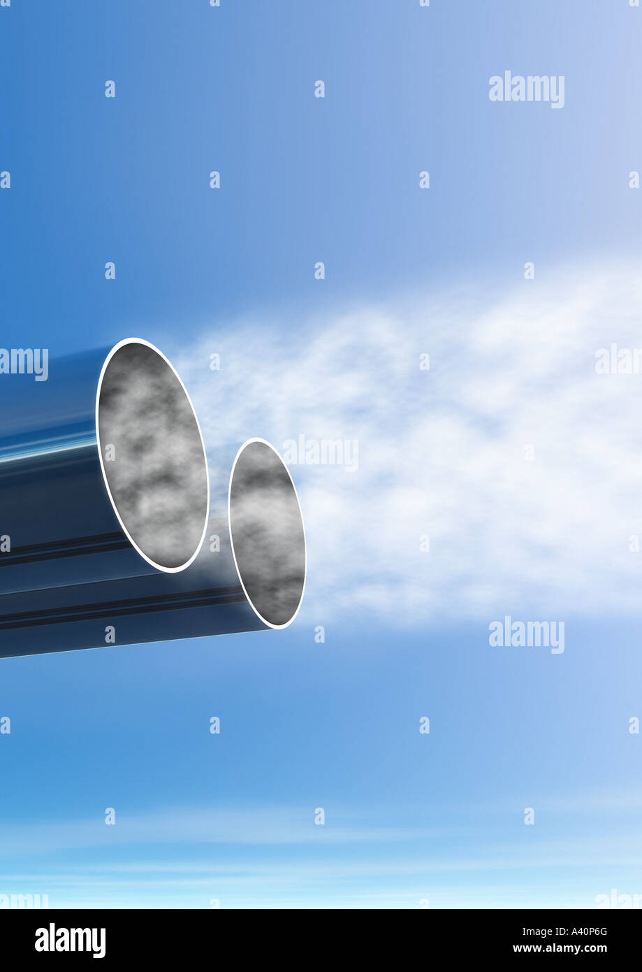 exhaust pipe and exhaust gases coming out of it Auspuff und herausströmende Abgase helle Rauchwolken - Stock Image