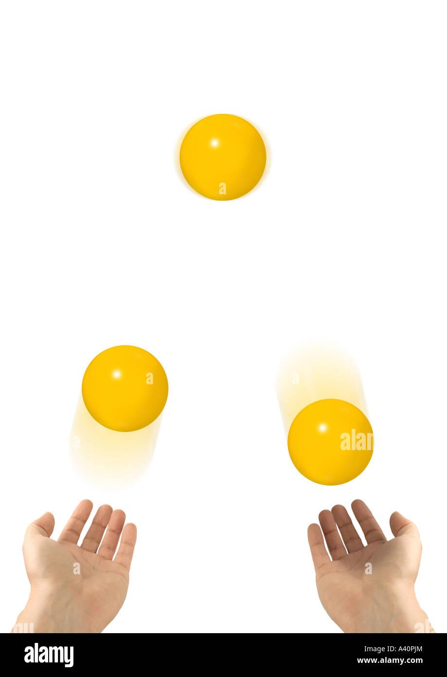 Juggler juggling Jongleur jongliert - Stock Image