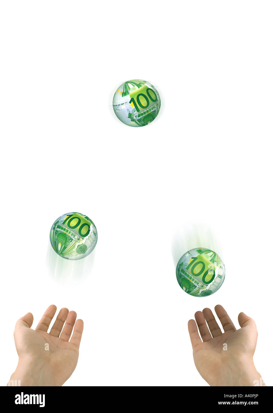 Juggler with Euros Euro Jongleur Stock Photo
