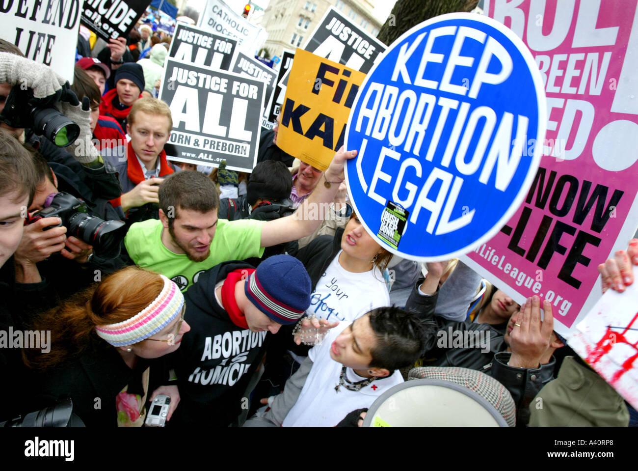 Pro-Life activists take part in the annual March for Life protest, Washington DC. January 23 2006. - Stock Image