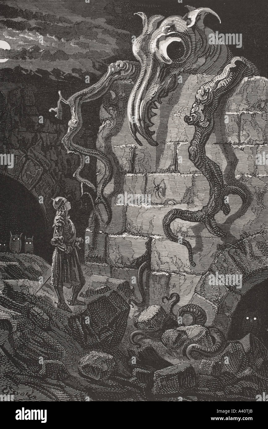 The Gnarled Monster by Gustave Dore - Stock Image