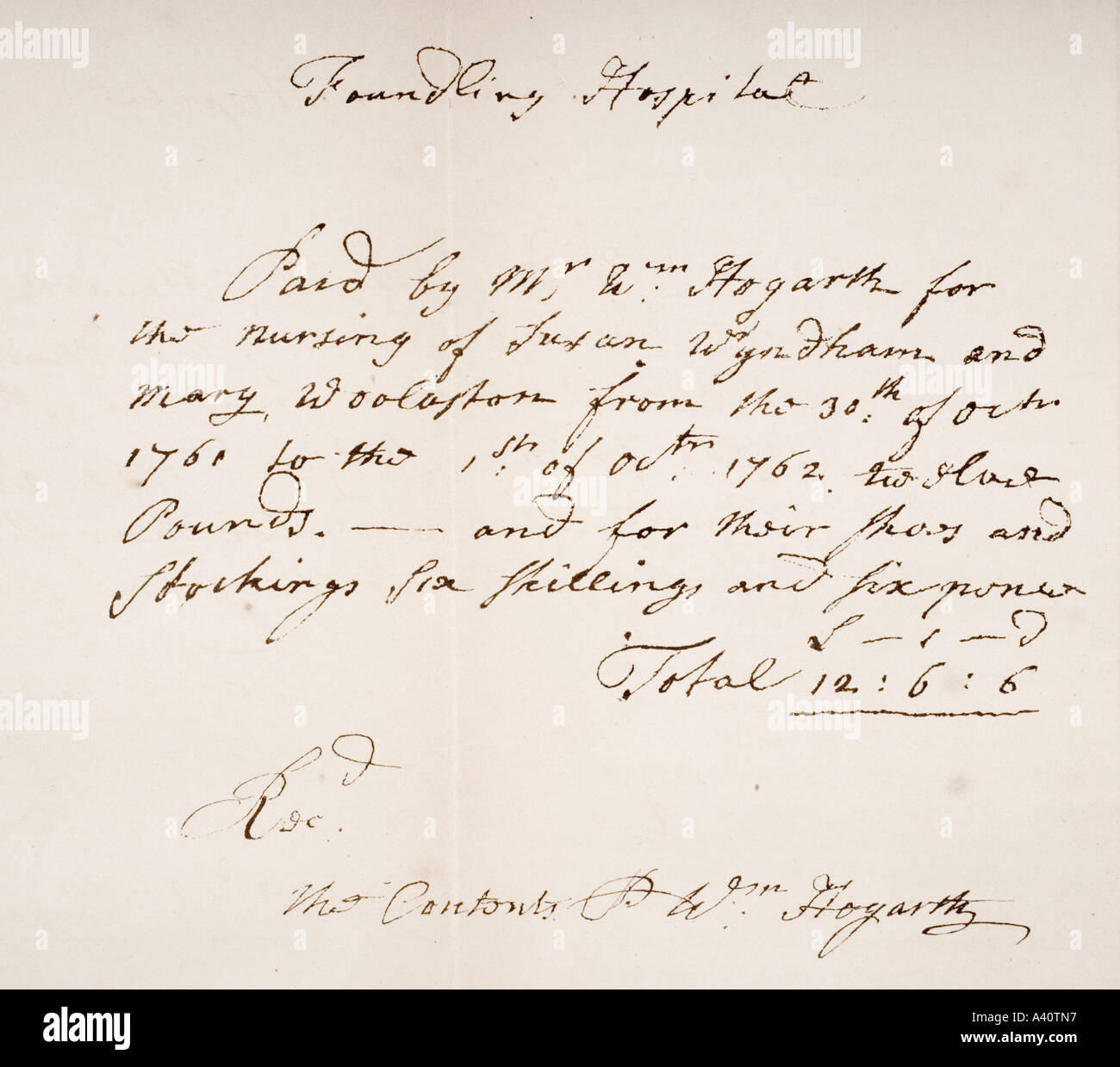 Foundling Hospital London receipt signed by William Hogarth 1697 1764 English artist - Stock Image
