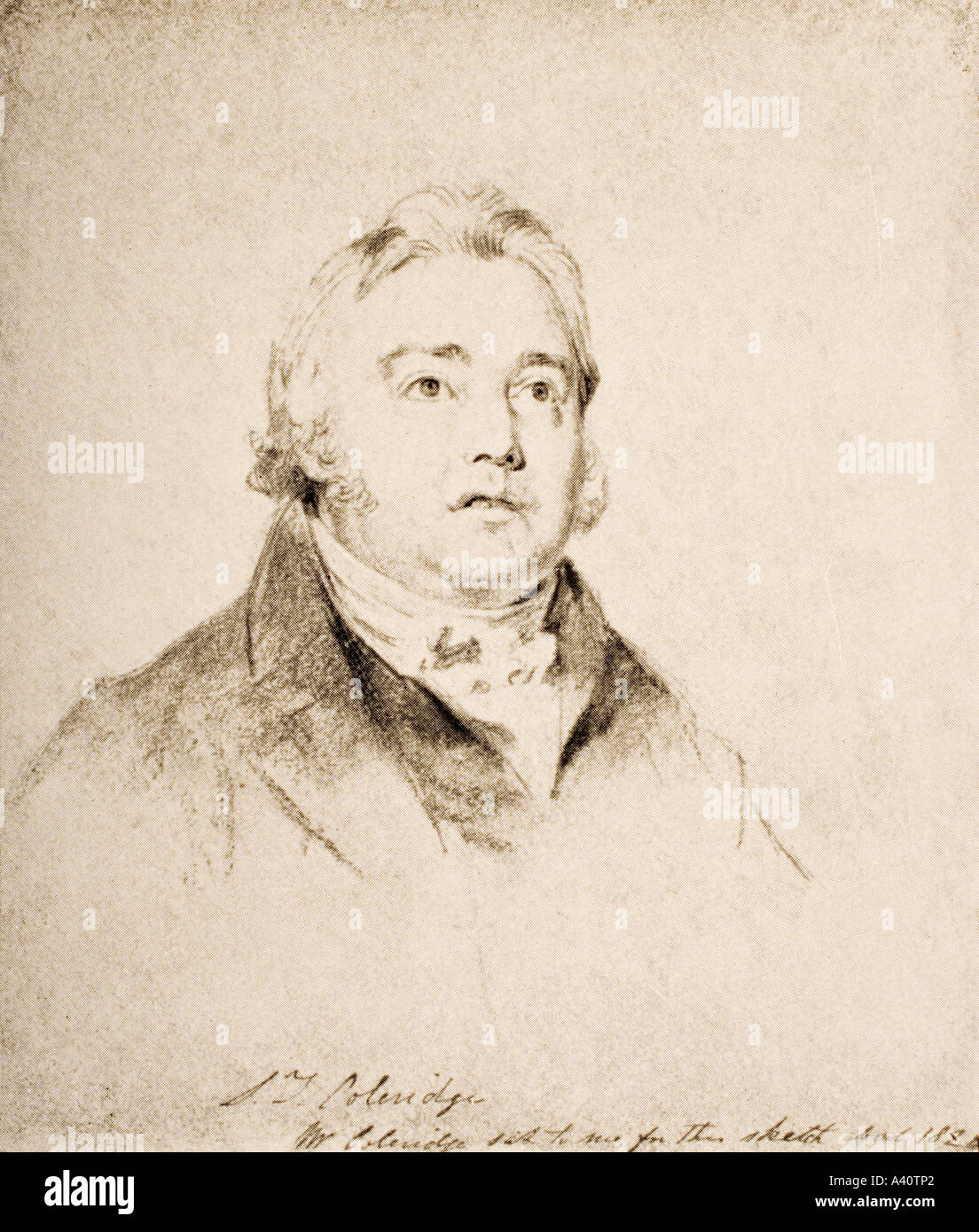 Samuel Taylor Coleridge 1772 1834 English poet and critic From a drawing by C A Leslie R A - Stock Image