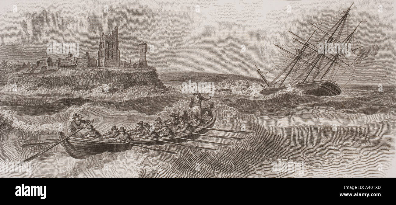 Life boat rowing to rescue of foundering sailing ship From a print dated 1820 engraved by Milton after W Anderson - Stock Image