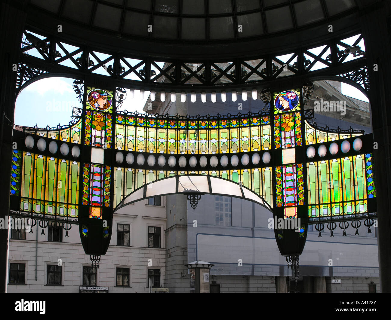 Stained glass screen over the main entrance Prague Old Town Municipal House Praha Czech Republic Europe EU Travel Stock Photo