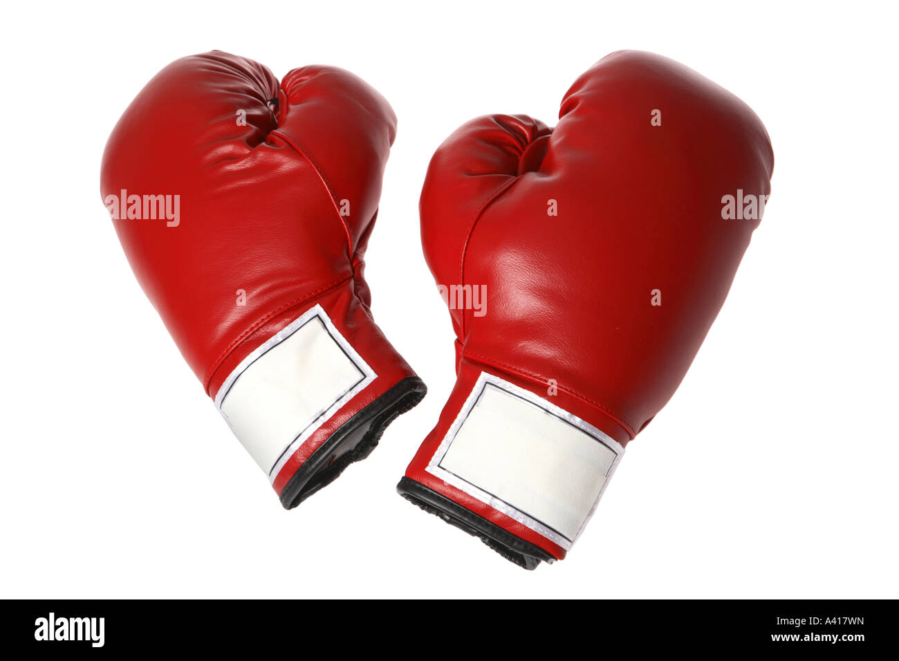 Boxing Gloves cut out on white background - Stock Image