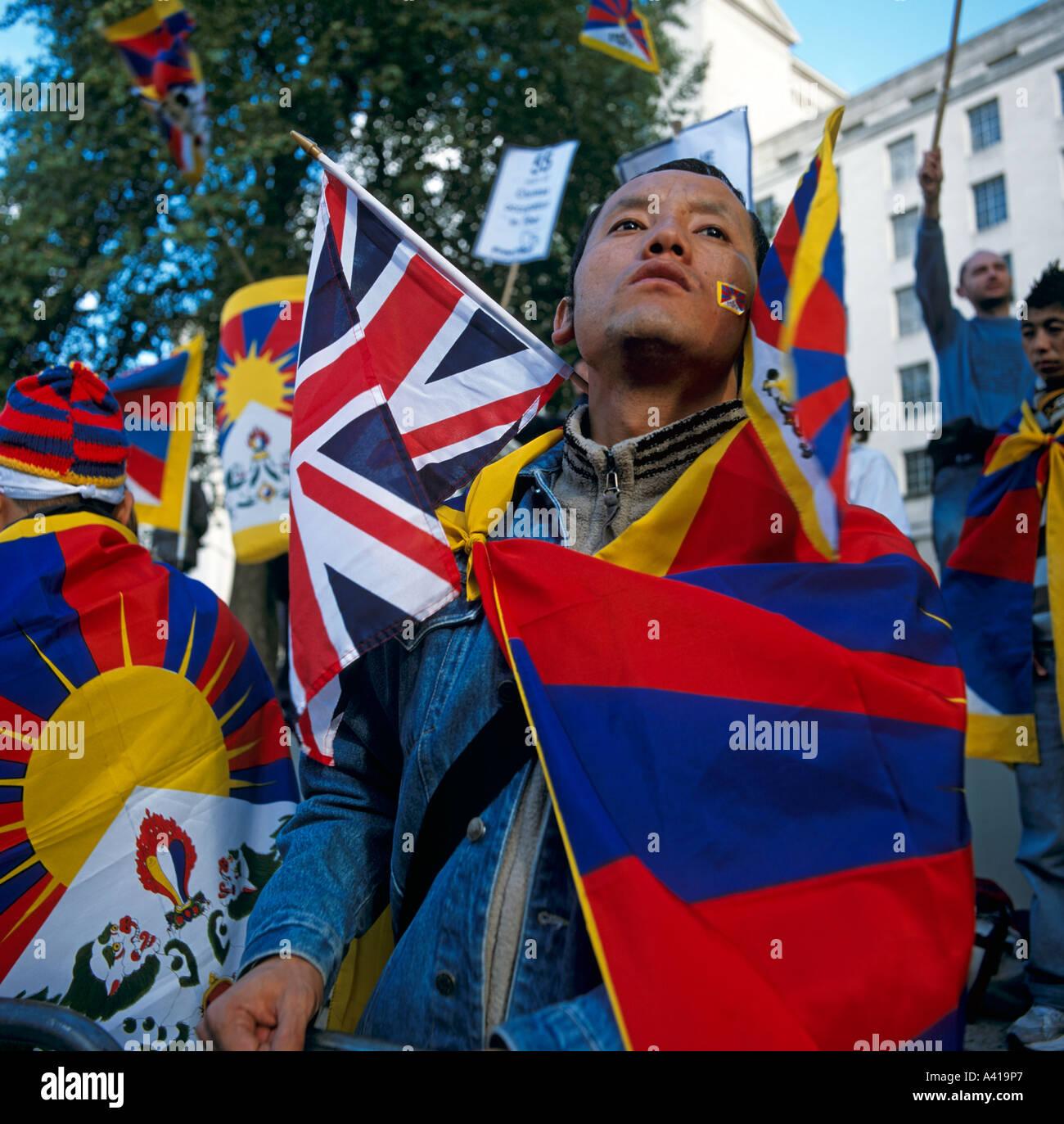Free Tibet Demo London U.K. Europe - Stock Image