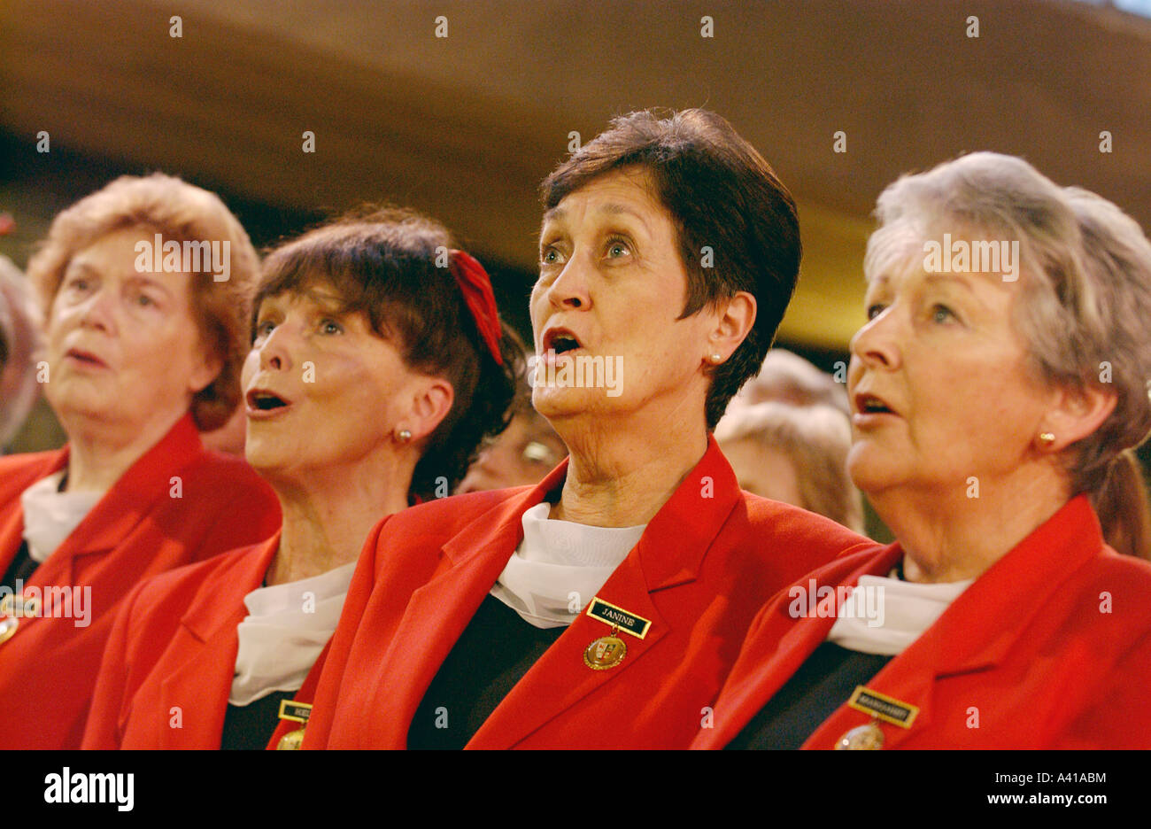 Sydney Welsh Choir from Australia performing in Cardiff Wales UK ladies section - Stock Image
