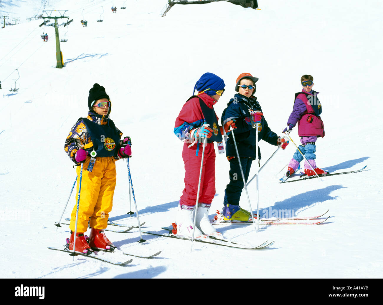 Children Skiing Val Di'sere The French Alps France Europe - Stock Image