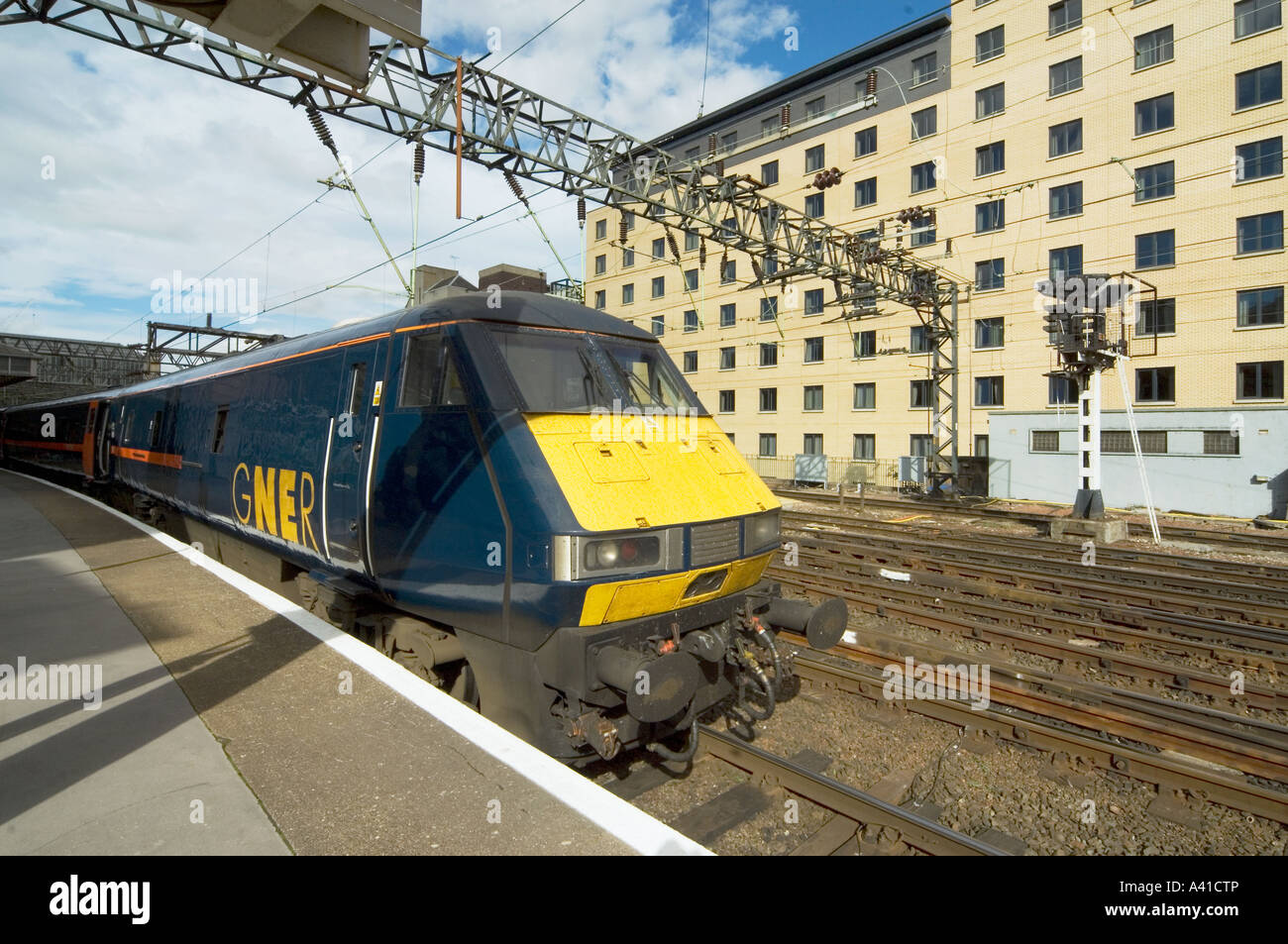 The R2427A Mallard train Flying Scotsman Train belonging to GNER at Glasgow Central Station. - Stock Image