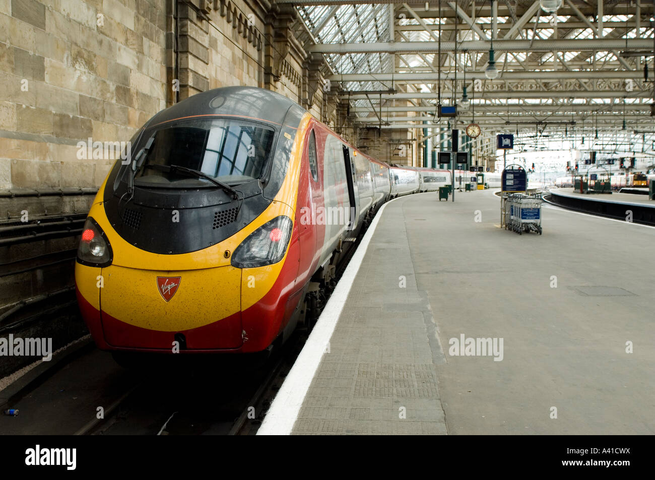 Glasgow Central Station is the main railway station for Glasgow, including the north-south link with Virgin Trains. - Stock Image