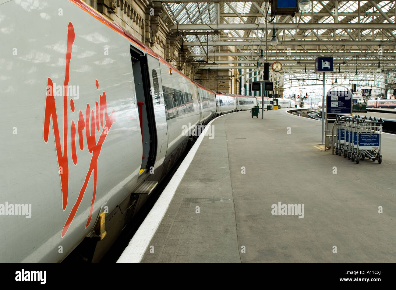 Glasgow Central Station the main railway station for Glasgow feeding to all stations south, including Virgin Trains. - Stock Image