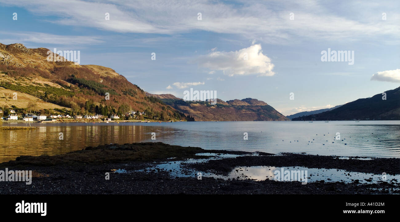 The village of Lochgoilhead, which is located on Loch Goil. Stock Photo